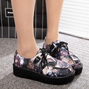 Japanese Harajuku Black Cosmic Art Platform Creepers Shoes Ver.8 SD00170