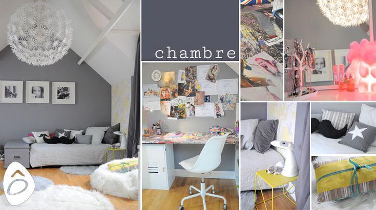 Décoration une chambre d'adolescente. Gris blanc et jaune avec une touche de rose!
