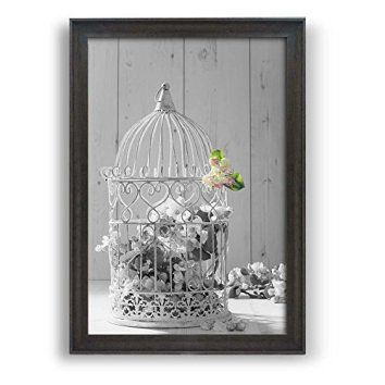 wall26 - Framed Wall Art Prints - White Cage with Flowers - Modern Home Decoration. Ready to Hang - Dark Coffee Brown Frame - 24    Floral aluminum metal wall art also known as floral metal wall art is a beautiful way to decorate your home.  You can get all kinds of unique, pretty and cool home decorating ideas by combining metal, glass, leather and cloth to really make your home multi dimensional and full of life.