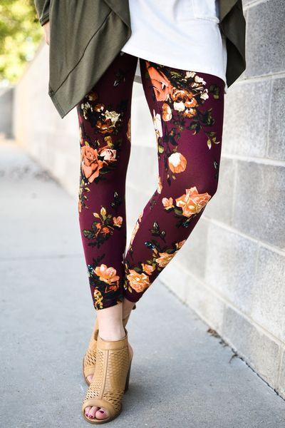 Burgundy Floral Leggings - My Sisters Closet