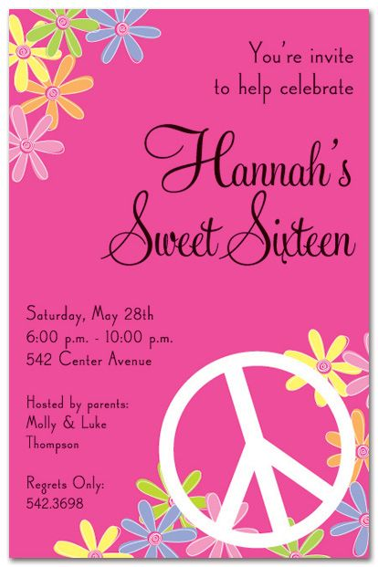 The Best Peace Sign Birthday Ideas On Pinterest Peace Sign - Contoh invitation card sweet seventeen birthday party