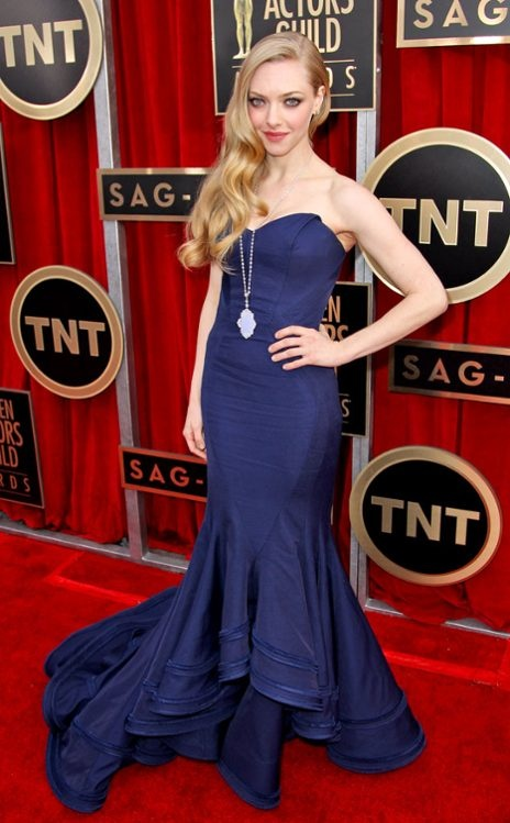 Amanda Seyfried, at the 2013 SAG Awards, wearing a gown by Zac Posen.