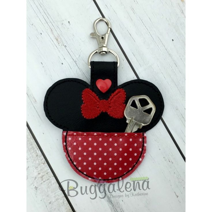Miss Ears Pocket Snap Tab Key Fob Embroidery Design-Character...