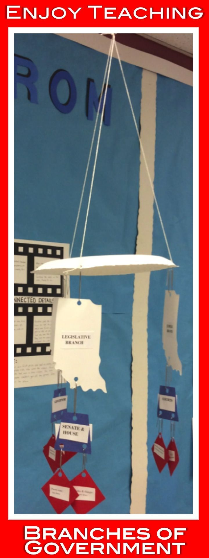 Your  fourth or fifth grade students will love creating mobiles to show what they know about the branches of government. Visit http://Enjoy-Teaching.com for directions, pictures, and a free template for the United States government.