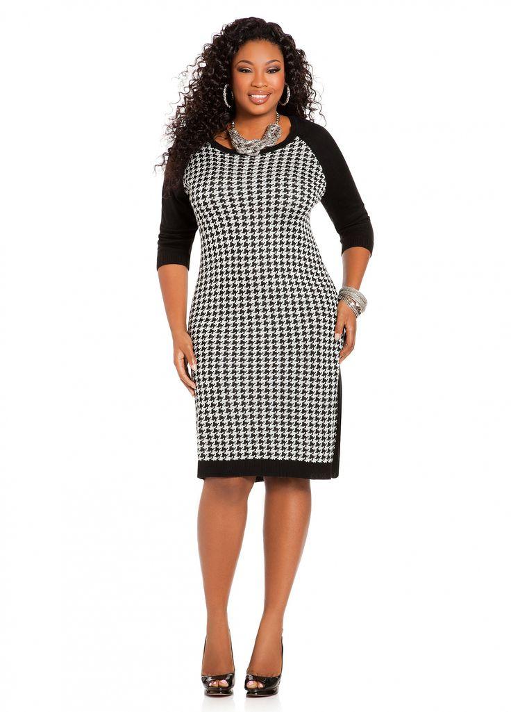 Ashley Stewart: Houndstooth Sheath Dress