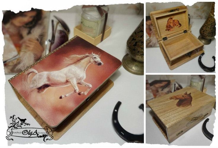 Decoupage. Wooden box. Horse.