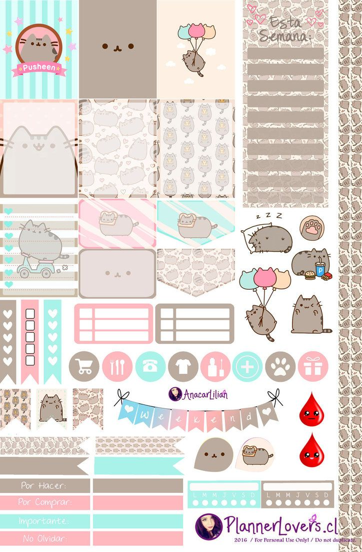 Pusheen - Free Printable Stickers by AnacarLilian.deviantart.com on @DeviantArt