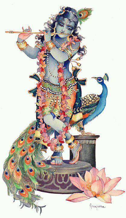 The Vedas describe Krishna in this way- He appears as a handsome youth with a glowing complexion the color of rain clouds. He plays a flute, attracting the hearts of all. His smile is enchanting, and He wears a peacock feather in His curly black hair and a flower garland around His neck. His eternal kingdom is known as Goloka, where it is said that every word is a song, every step a dance, and every moment new, fresh, and filled with spiritual bliss.