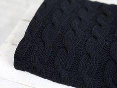 Alpaka Zopfstrick Wolle Stoff Meterware Schwarz Strickstoff