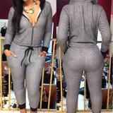 Sexy Clube Fashion Autumn Jumpsuits Sweater Capris Pants Casual Woman Summer Nightclub Clubwear Jumpsuits With Hat Plus Size