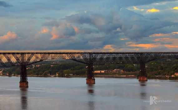 Sunset on the Hudson River with Walkway Over the Hudson and Poughkeepsie, NY by BR20ten on Etsy