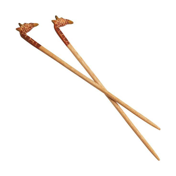 Fun Giraffe Carved Wood Chopsticks 'Giraffe Chopstick Pair'