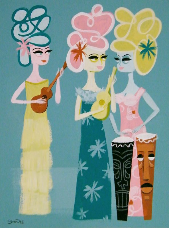 Mod tiki paintings by El Gato Gomez get us in the mood for summer! via @Kevin & Robin -