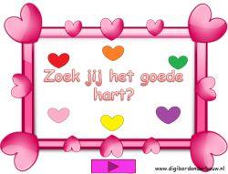 Digibordles: Zoek de goede hartjes kleur. http://digibordonderbouw.nl/index.php/themas/feest/trouwen/valentijn-digibordlessen/viewcategory/376
