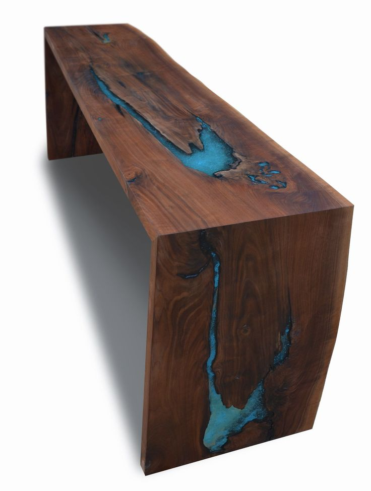COFFEE TABLE: Custom Made Live Edge Walnut Epoxy Resin/Turquoise Inlay Dining Console