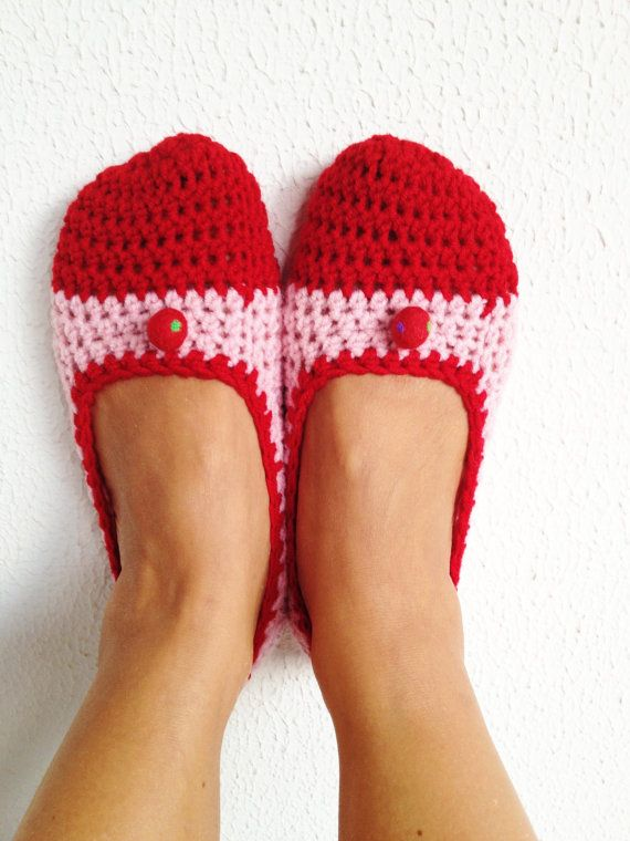 Pink Red  Ballet Flats House Shoes With Red by cookieletta on Etsy, $25.00