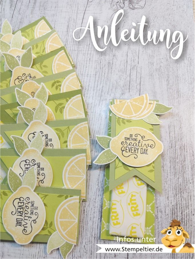stampin up anleitung verpackung video lemon zest zitronen stanze fritt mitbringsel goodie how to limette papierschneider maße stempeltier workshop