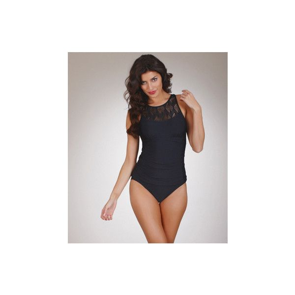 Athena Monaco Crochet High Neck One Piece Swimsuit found on Polyvore featuring polyvore, fashion, clothing, swimwear, one-piece swimsuits, one piece suits fauxkini, one piece bathing suits, high neck one piece swimsuit, black crochet swimsuit and 1 piece swimsuit