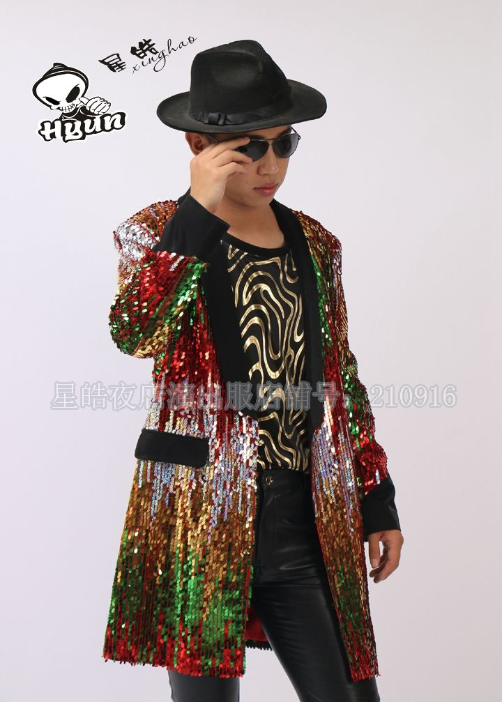 2015 new fashion nightclub bar male singer DJ / host guests / multi-color stitching sequins long coat suit jacket costume