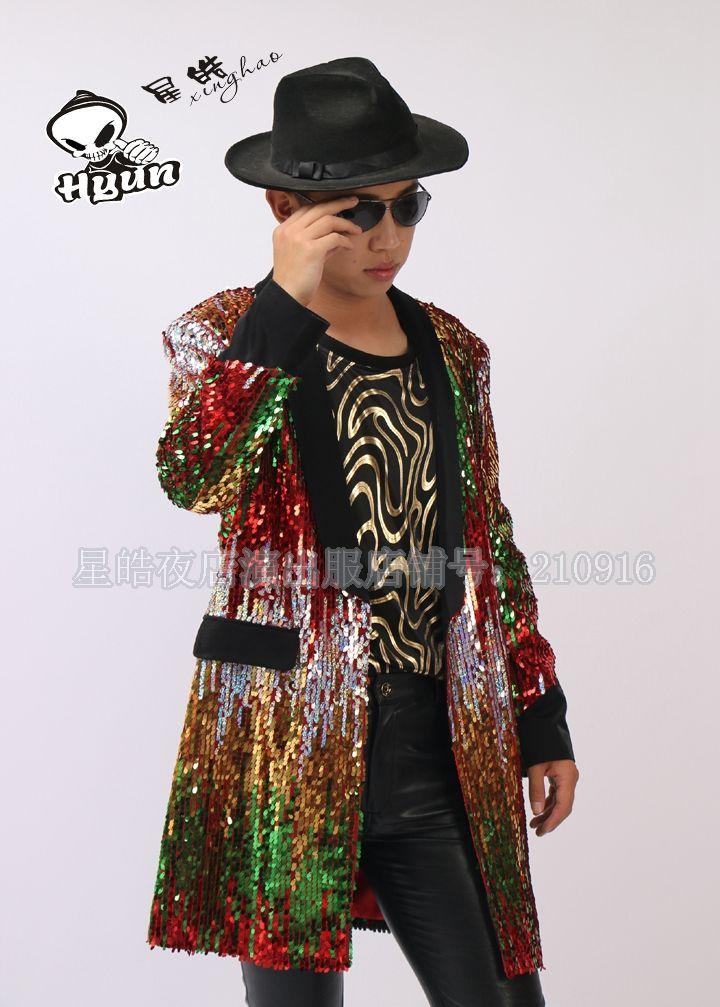 Barato 2015 nova moda discoteca bar cantor DJ / série do / traje de lantejoulas cor de costura longo casaco jaqueta, Compro Qualidade Jaquetas diretamente de fornecedores da China: