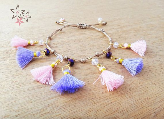 NEW Pink & Purple Cotton Tassel Charm Bracelet / Evil by Twininas