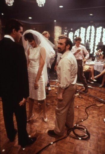 Ray Liotta, Lorraine Bracco and Martin Scorsese on the set of Goodfellas, 1990