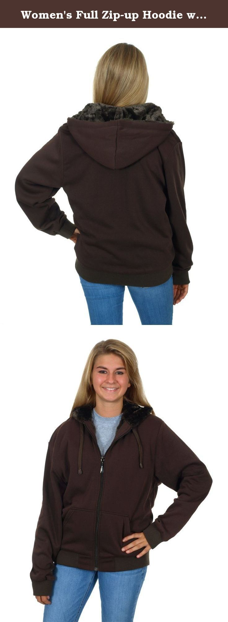 Women's Full Zip-up Hoodie with Shimmer Fleece Lining (X-Large, Brown). Women's Full Zip-up Hoodie with Shimmer Fleece Lining. This women's hoodie features a full zip-up front, ultra soft shimmer fleece lined body and hood, hood draw cord, 2 front hand pockets and stretch fit cuffs and waistband.