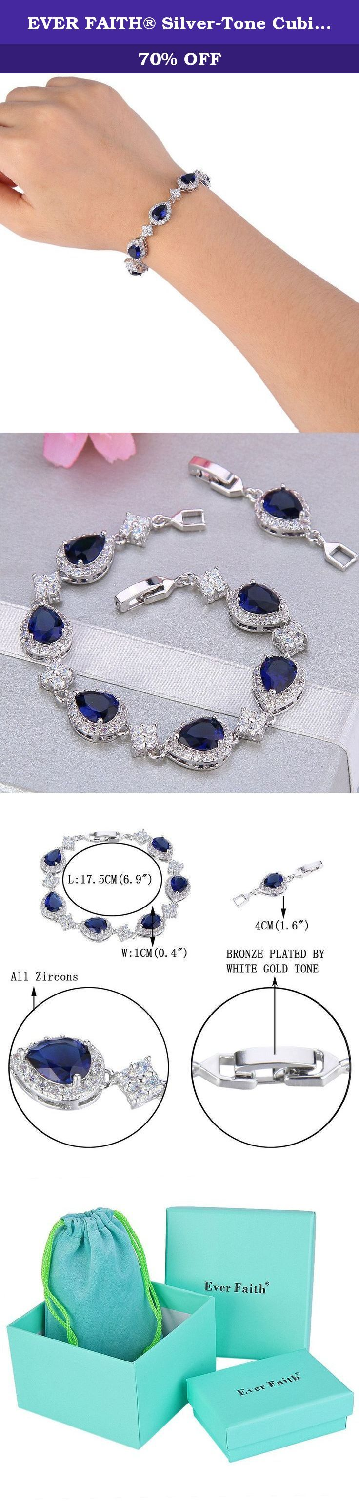 EVER FAITH® Silver-Tone Cubic Zirconia September Birthstone Wedding Tear Drop Link Bracelet Blue Sapphire-color. This fabulous jewelry is made of cubic zirconia and the bedazzling stones make you feel more ladylike. Cubic zirconia, as a beautiful synthetic stone that is durable, lustrous and entirely colorless. It is frequently used in jewelry.Sparkle under lights, telling its quality to everybody. Ever Faith As a company that concentrates on fashion jewelry, we already have about 10…