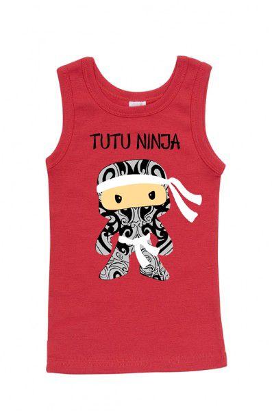 Tutu Ninja singlet - kiwiana maori design