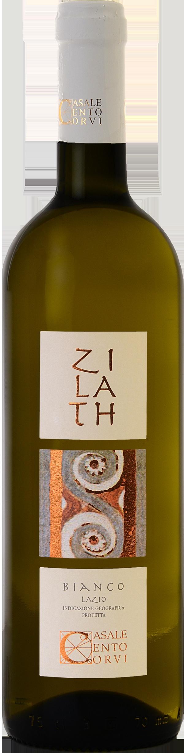 ZILATH BIANCO  La parola Zilath deriva dal nome della carica magistrale del popolo etrusco. Questo vino va a rappresentare la tipicità laziale per eccellenza con l'utilizzo dei due vitigni più comuni, il Trebbiano e Malvasia che vanno ad esprimere sensualità al naso e freschezza al palato, il tutto coadiuvato da una piccola percentuale di un uva elegante, lo Chardonnay che va a completare questo vino, arricchendolo di sensazioni gusto/olfattive.