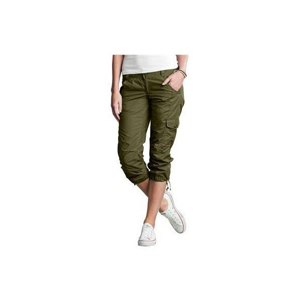 Cargo capri by Ellos ($40) ❤ liked on Polyvore featuring pants, capris, womens plus cargo pants, womens plus size pants, plus size cargo capris, plus size cargo pants and style&co cargo capri pants