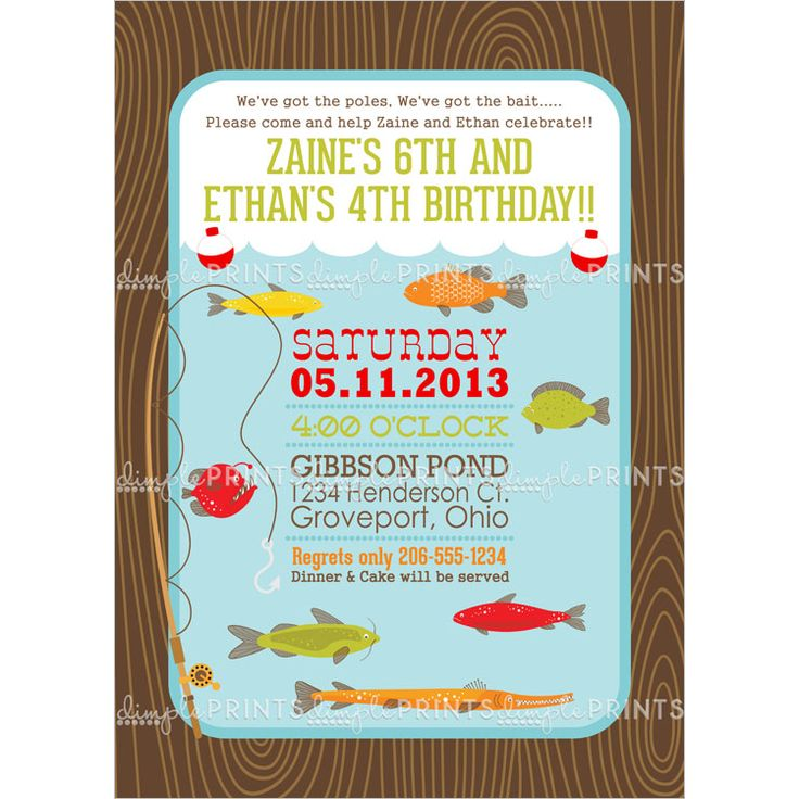 Fishing printable birthday party invitation shops for Fishing birthday invitations