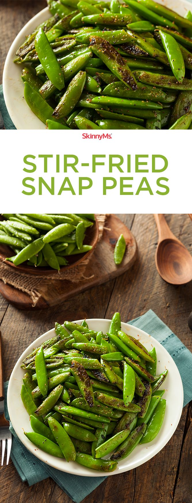 With just one ingredient and a few simple spices, these Stir-Fried Snap Peas steal virtually no time from your schedule. Try them as a healthy side! #cleaneating #healthysides