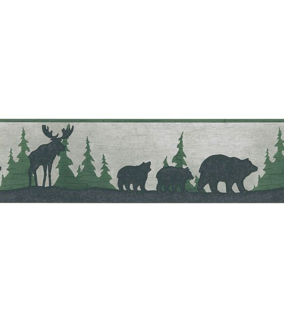 Great Woods Grey Bear And Moose Silhouette Wallpaper