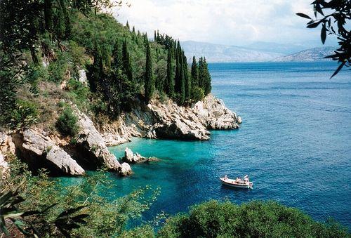 Greece, Corfu, Cove north of Nissaki Beach Hotel