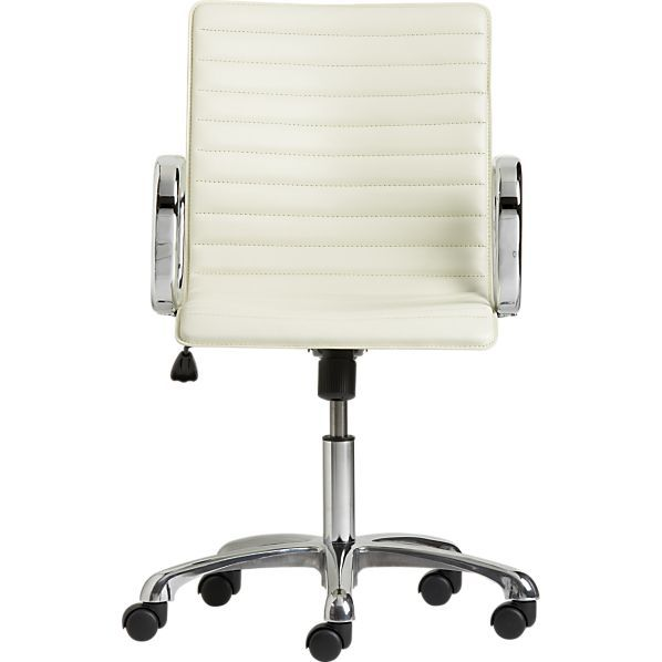 Ripple Ivory Leather Office Chair in Office Chairs | Crate and Barrel