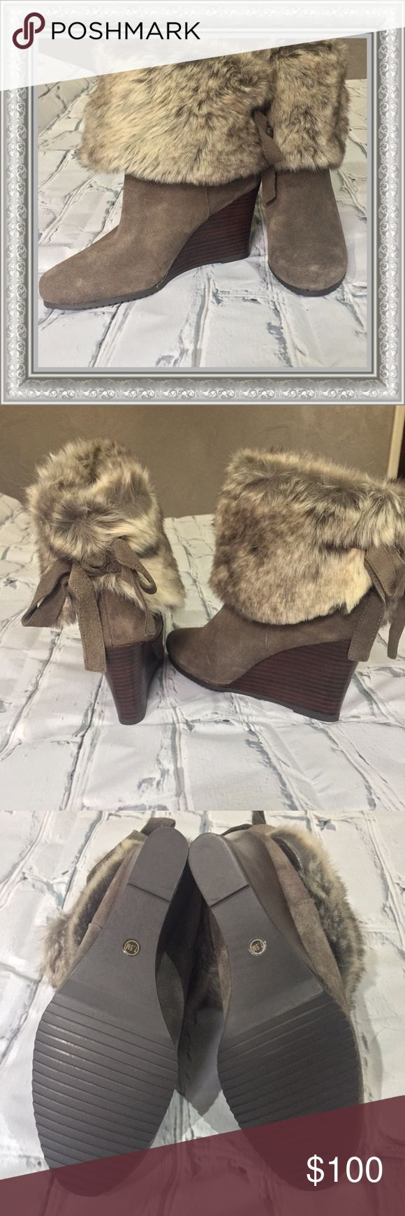 NEW, Never Worn!! Chinese Laundry Fur Booties Brand New! Chinese Laundry Suede Booties.  Wedge Heels. Chinese Laundry Shoes Ankle Boots & Booties