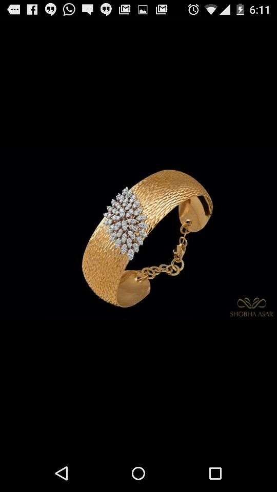 Diamond + matt gold cuff
