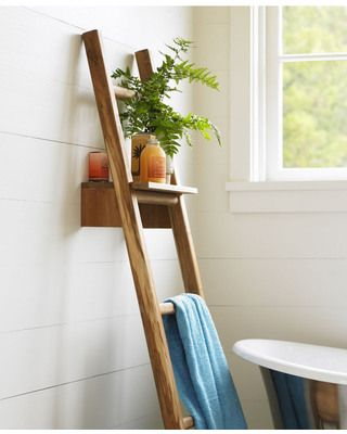 Ideal for small spaces, this ladder has a removable shelf! Get it here: http://www.bhg.com/shop/vivaterra-teak-ladder-with-shelf-p50b8636ee4b0160d46ad5f42.html?mz=a
