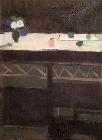 Janice Biala, Black Cupboard, 1975, Oil on canvas,13.88 x 10.62 in. (35.3 x 27 cm.)