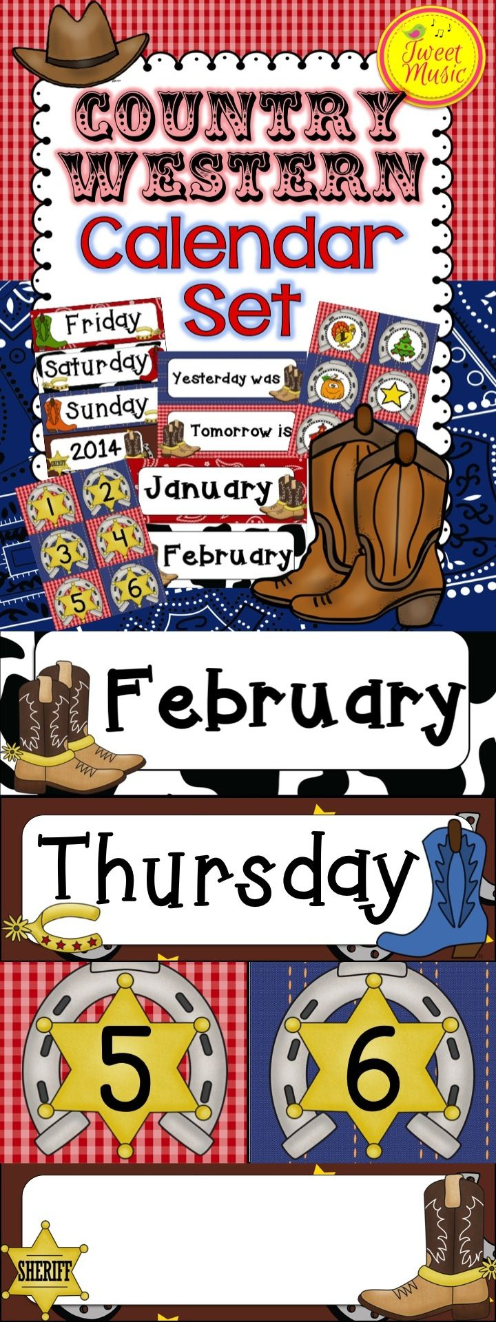 Yeehaw! Decorate your classroom this year with this adorable Country Western themed decor. This calendar set is sold individually and as part of a bundled set. $