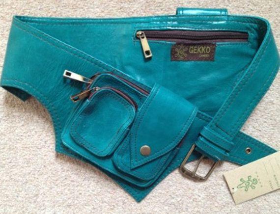 EMERALD green LEATHER utility POCKET belt hip waist psytrance bumbag fanny pack steampunk dubstep. £34.99, via Etsy.