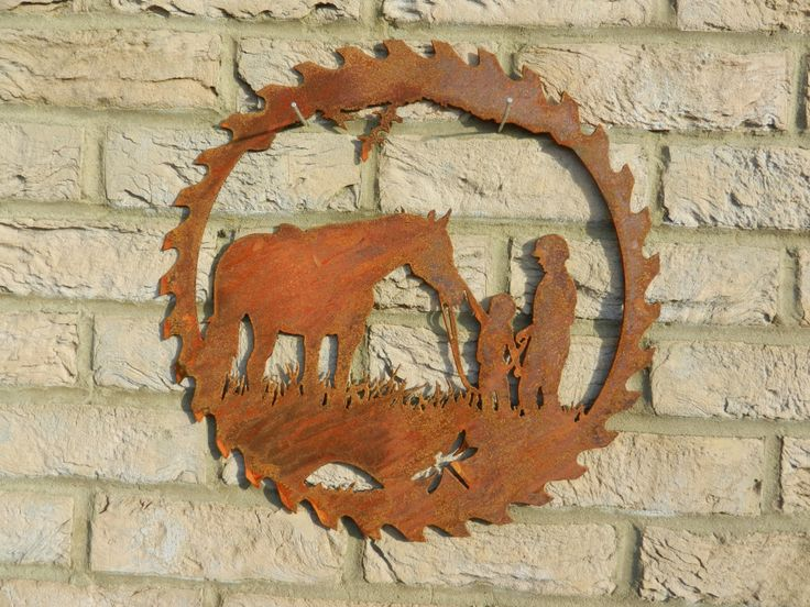 Horse Circular Saw blade Art / Rusty Metal Art / Garden Decoration / Horse Gift / Horse Rider / Horse Wall Decor / Equine Art / Jockey Gift by RustyRoosterMetalArt on Etsy