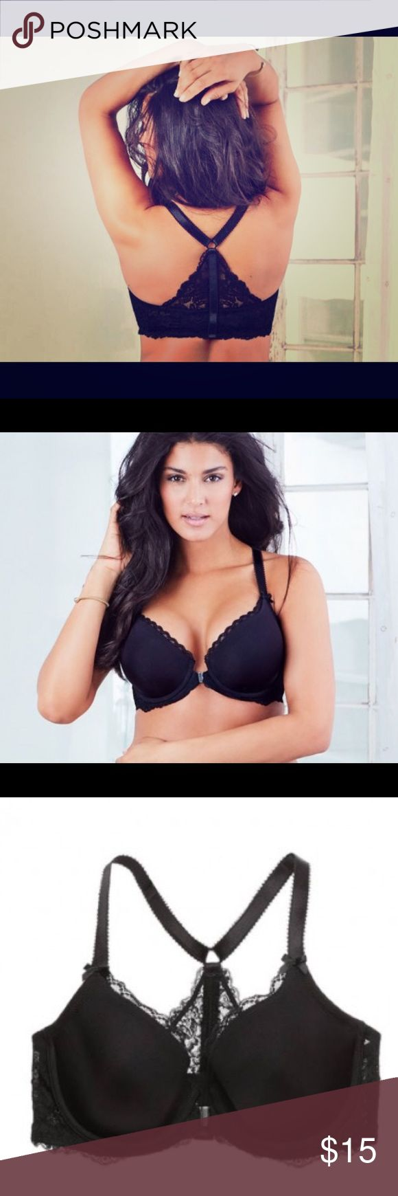 Black Racer Back Bra Beautiful black bra with a lacy racer back and a simple silver metal front clasp. Plus size lingerie this cute is hard to find. Never worn, I accidentally ordered the wrong size in a set and could not return it. Adore Me Intimates & Sleepwear Bras