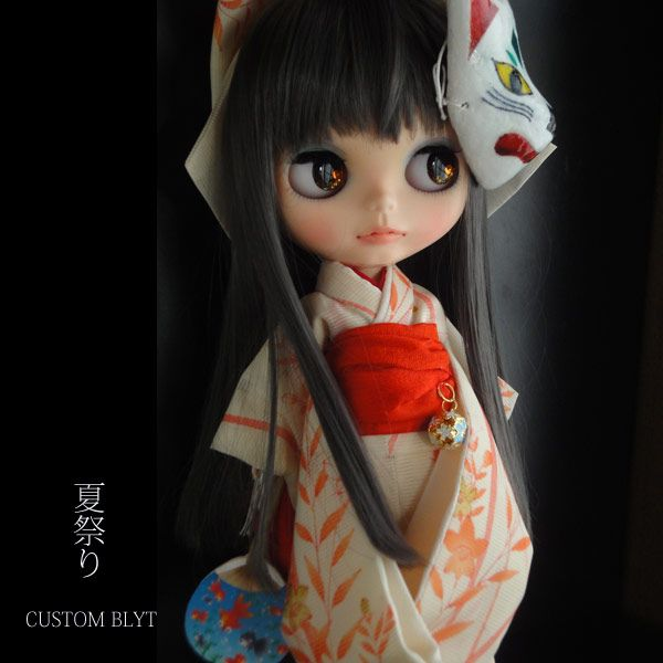 Kyohiroカスタムブライス☆正絹赤絵の絽☆夏祭り☆狐のお面♪_画像2