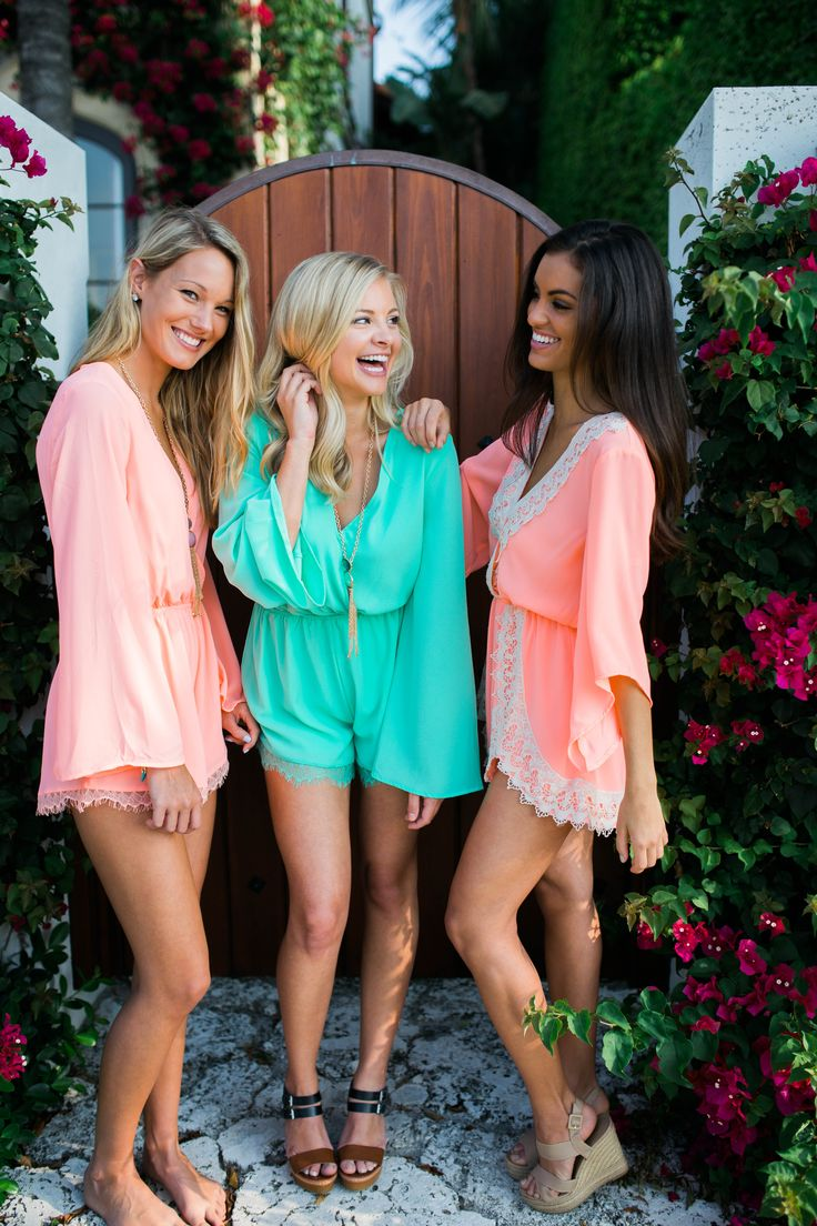 Surplice long sleeve romper with lace trim on the hem with elastic waist. Available in two colors.