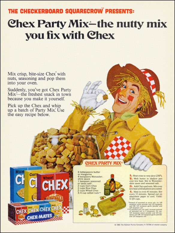 old chex ad.  Original Chex Party Mix recipe.