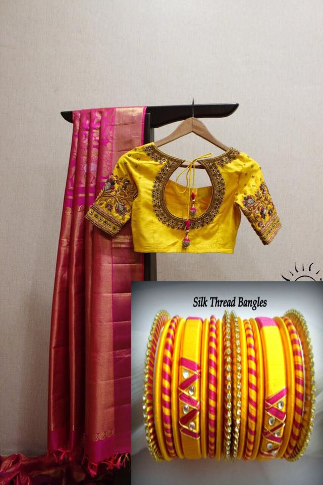 Silk saree and silk thread bangle