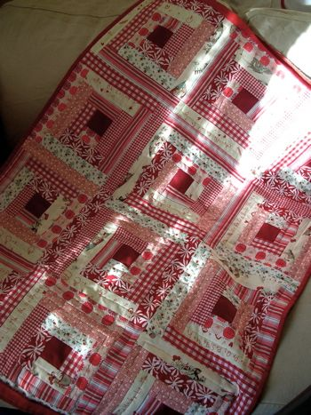 A wonky log cabin made all in pink, red and white. I really like this.