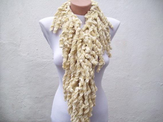 Cream knit scarf  soft velvet  Winter accessories  Fall by nurlu